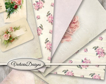 Shabby Flowers Papers printable 8.5 x 11 inch paper pack crafting scrapbooking instant download digital collage sheet - VDPASC1461