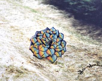 Rainbow Succulent Pin | Cactus Pin | Succulent Pin | Nature Pin