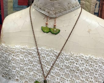 Ginkgo Leaf Enameled Necklace and Earrings, Green
