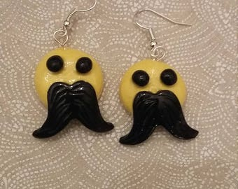 Emoji with Mustache Earrings