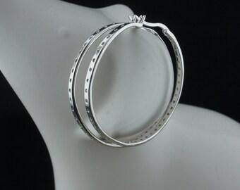 STERLING 925 DBJ 925 China Hoop Vintage Art Deco Pierced Earrings Dangling hammered design  st266