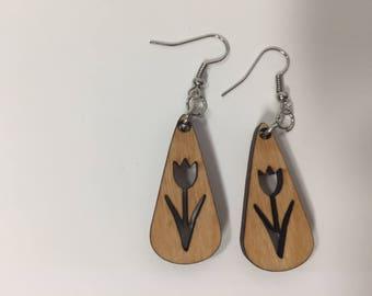 Wooden Tulip Earrings