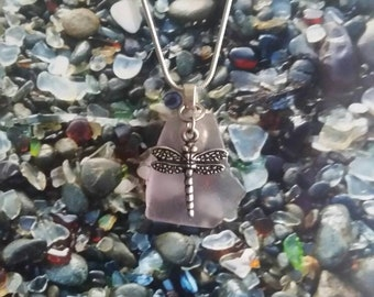 Dragonfly sea glass necklace