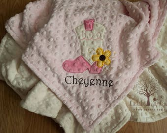 Cowgirl Boot Personalized Minky Baby Blanket, Personalized Minky Baby Blanket, Personalized Baby Gift, Appliqued Minky Baby Blanket