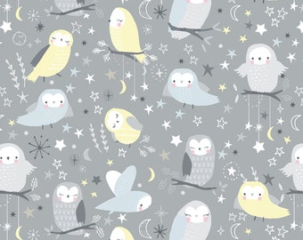 Owls and Birds, 1 Yard, Quilt Fabric, Timeless Treasures, Stone Owlsy, Children, Gray, Yellow, Soft Blue, Happy Owls, Owl Moon, Night Owls
