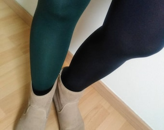 Tights fancy colored tights pantyhose two-tone, dark green and Navy Blue tights, Tights for woman, Pantyhose