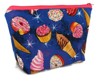 Large Cosmetic Bag - Makeup Bag - Accessory Bag - Make up Bag - Toiletry Bag - Gadget Bag -  Jewelry Pouch in Space Donut