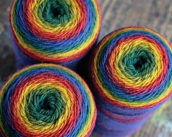 Pure wool Rainbow yarn -- 187 g