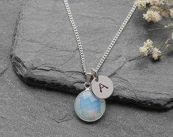 Opalite Necklace Sterling Silver -  October Birthstone Necklace - Round Opolite Jewelry Jewellery - Personalized Initial Necklace - A88