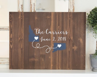 Custom Two State Guest Book Alternative Wood Sign - Wedding Decoration