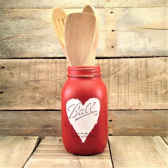Weißes Herz auf rot Maurer-Glas-Vase