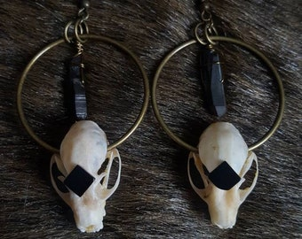 Obsidian Bat Skull Earrings