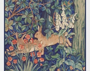 SPRING SALE DIGITAL Download William Morris's Forest Rabbits Counted Cross Stitch Chart