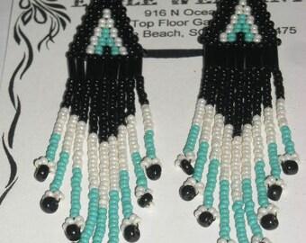 Native American Beaded Earrings, Turquoise/Black/Ivory