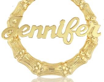 Celebrity Style Large Bamboo Name Earrings (Order Any Name) - Door Knocker Earrings, Hoop Earrings, Yellow, Rose Gold or Sterling Silver