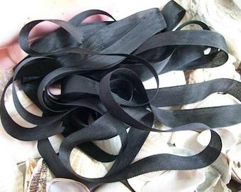 Vintage- Seam Binding-  Black-Silky-Ribbon