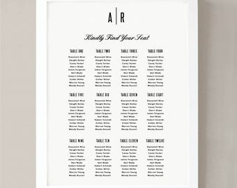 Printable Seating Chart Poster Template | Modern | Word or Pages | 18x24 | Editable Artwork Colors | Instant Download