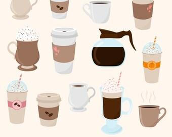 Coffee Clipart, Digital Coffee, Coffee Cups, Coffee Mugs, Latte, Espresso, Mocha, Frappe, Printable, Commercial Use