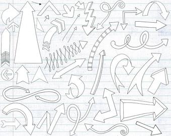 Arrow Doodle ClipArt, Hand Drawn Arrows Line Art + Black Fill, PNG Instant Download, Decorative Directional Arrow Graphic Design Element