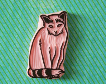 Cat rubber stamp - sitted cat - hand carved stamp - DIY - cat lover gift - pet stamp - kitty stamp