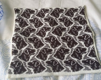 Handmade knitted Labrador cushion cover complete with infill