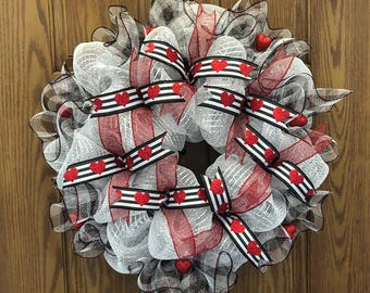 """22"""" Handmade Black, Red and White Valentine's Day Deco Mesh Door Hanging Wreath with Red Glitter Hearts & Ribbons"""
