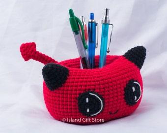 Crochet pen Holder, crochet bowl, home office decor, pencil Holder