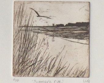 Original etching print of a coastal view beach ocean sea