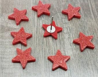 12mm Red Glitter Acrylic Stars -Laser Cut - 10 Pcs