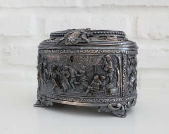 Antique-French A.B. Paris Silver Jewelry Casket, Silver Plate Cherubs Jewelry Casket Box, Rural Scene Ornate High Relief Box