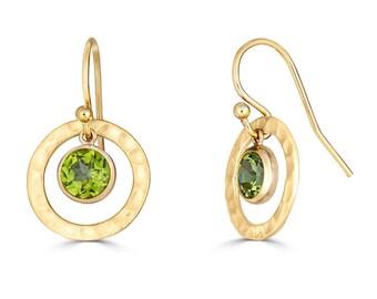 Peridot Earrings, Genuine Peridot Earrings Gold, Peridot Jewelry, Green Gemstone Earrings, Minimalist Earrings, Birthday Gift, Gift for Her