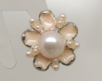 Semi-Vintage Enamel Flower Pin with Pearl Accents