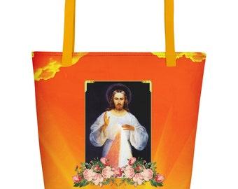 Divine Mercy Jesus Beach Bag - catholic gifts - Jesus Christ bag - catholic art - spiritual gifts - religious gifts