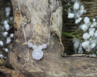 Rose Quartz - Rose - 925 Sterling Silver - Chain - Necklace