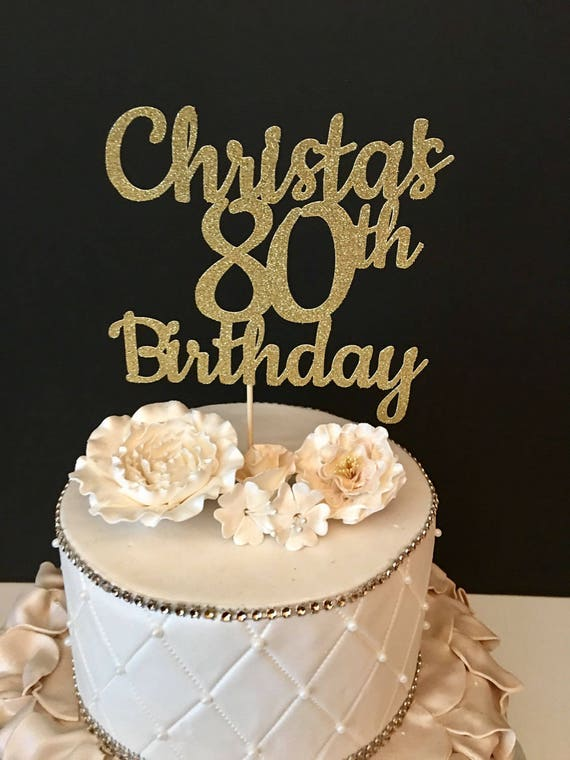Any Name Number Black Glitter 80th Birthday Cake Topper 80