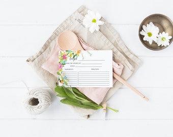 Floral Recipe Card Printable Kitchen Recipe Card Bridal Shower Recipe Card Flower Recipe CardWatercolor Blush Wedding Shower Recipe