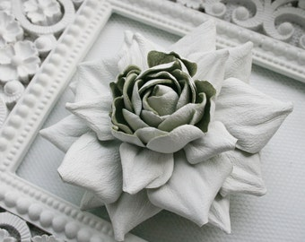 White Leather Rose Flower Brooch/Hair Clip