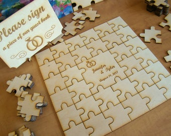 Custom Wood Oak Personalized Wedding Puzzle Piece Guest Book Signing