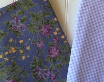 Marcus-Brothers-Textiles-Inc-Roses-Lavender-Gardens-Purple-Flowers-Gingham-Mini-Leaves-Cotton-Flannel-Fabric-By-The-Yard-Bundle-Options