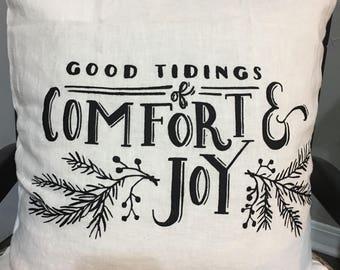 Good tidings Christmas pillow