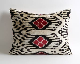 White black red silk velvet ikat pillow cover 16x20 inch bohemian home decor