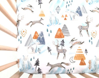 Crib Sheet White Woodland. Fitted Crib Sheet. Baby Bedding. Crib Bedding. Woodland Crib Sheet. Bear Crib Sheet.