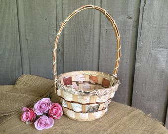 Birch basket/ flower girl birch basket/ wedding basket/ wedding accessory/ rustic basket/ woodland basket/ rustic wedding/ woodland wedding