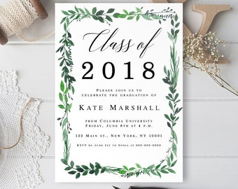 Greenery Invitation Etsy - Class party invitation template