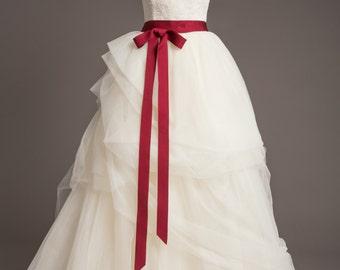 "Cranberry Red Wedding Sash - 1.5"" - Romantic Luxe Grosgrain Ribbon Sash - Wedding Belt, Bridal Sash, Bridal Belt - Wedding Dress Sash"