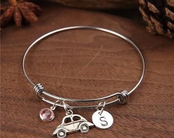 Car bangle - Initial bangle - expandable bracelet - I Love car Bracelet - personalized bracelet - Monogram bangle - Birthstone bracelet