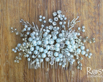 Hair Comb, Bridal White Pearl Hair Comb, White Beads Hairpiece, Bridal Hairpiece, Wedding Hair Accessory, Wedding Hairpiece, Comb