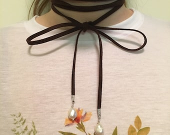 Suede and Pearl Wrap Necklace