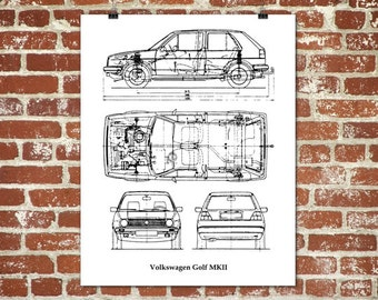 Vw golf mk2 blueprint volkswagen golf mkii golf mk2 gift volkswagen golf blueprint vw golf golf mk2 vw golf decor instant download blueprint art vw golf poster 8x10 11x14 16x20 malvernweather Image collections