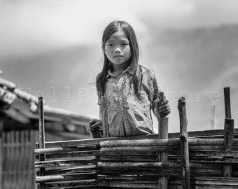 Vietnamese Village Girl, Black and White Fine Art Photography Print, Asian Girl, Vietnam Wall Art, Vietnam Photography, Vietnam Art Print